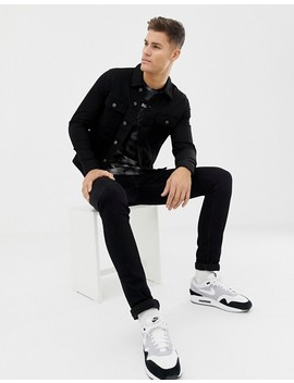 Asos Design Skinny Western Denim Jacket In Black by Asos Design