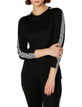 Helly Hansen Lifa Stripe Base Layer Crew Top, Black by Helly Hansen