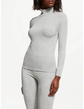 John Lewis & Partners Heat Generating Ribbed Roll Neck Thermal Top, Grey by John Lewis & Partners