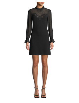 Mock Neck Long Sleeve A Line Dress W/ Lace & Ruffle Details by Rebecca Taylor