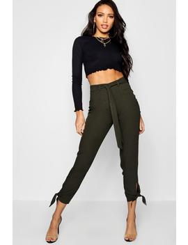 Utility Tie Ankle Woven Slim Fit Trousers by Boohoo