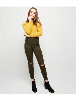 Girls Khaki Cargo Pocket Ripped Skinny Jeans by New Look