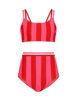 Girls Pink Stripe Glitter Bikini Set by New Look
