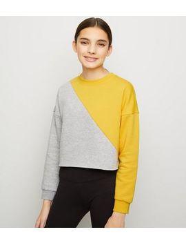 Girls Yellow Diagonal Colour Block Sweatshirt by New Look