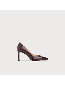 Floret Bordeaux Croc Effect Closed Heels by L.K.Bennett