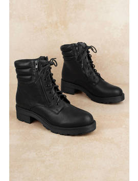 Mia Morrigan Black Faux Leather Combat Boots by Tobi