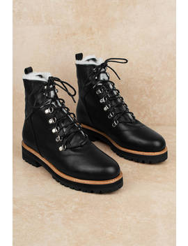 Sol Sana Harlan Black Lace Up Leather Boots by Tobi