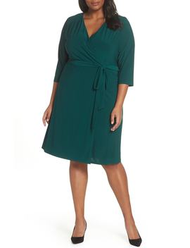 Smocked Shoulder Wrap Dress by Eliza J