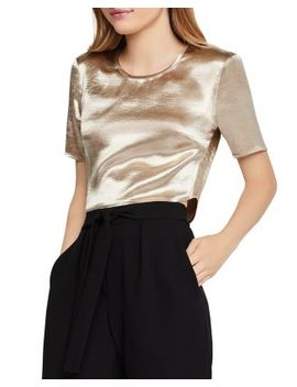 Metallic Satin Cropped Top by Bcb Generation