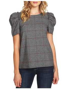 Scarlet Dream Puffed Sleeve Plaid Blouse by Cece