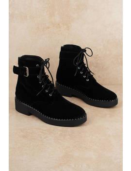 Sol Sana Meret Black Velvet Combat Boots by Tobi