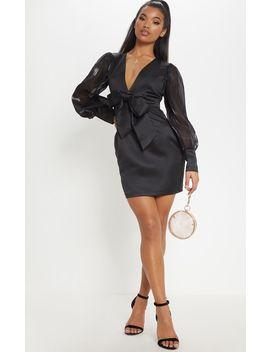 Black Satin Mesh Balloon Sleeve Bodycon Dress by Prettylittlething