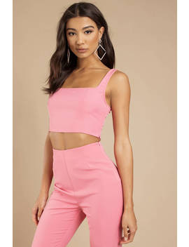 Jennie Pink Square Neck Tank by Tobi