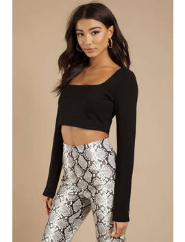 Marianne Black Square Neck Crop Top by Tobi