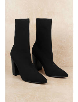 Sol Sana Danni Black Mid Calf Sock Booties by Tobi