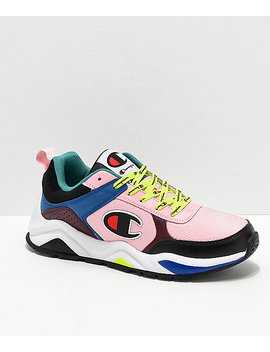 Champion 93 Eighteen Big C Pink & Multi Colorblock Shoes by Champion