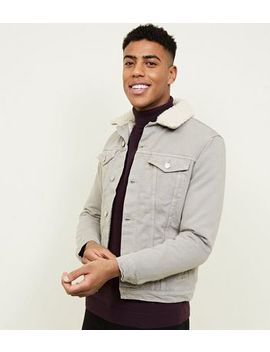 Stone Borg Lined Denim Jacket by New Look