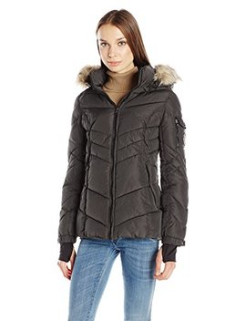 Madden Girl Women's Puffer Jacket With Faux Fur Hood by Madden Girl