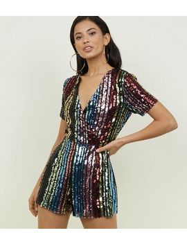 Blue Vanilla Rainbow Sequin Wrap Playsuit by New Look