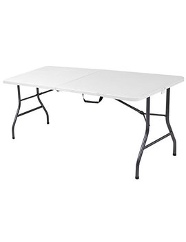 Cosco Deluxe 6 Foot X 30 Inch Fold In Half Blow Molded Folding Table, White Speckle by Cosco