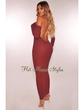 Chocolate Ribbed Knit Off Shoulder Low Open Back Maxi  Dress by Hot Miami Style