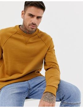 Asos Design Sweatshirt With Raw Edge Seam Detail In Dark Yellow by Asos Design
