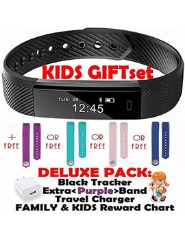 Fitness Tracker For Kids Activity Trackers   Children Health Digital Smart Watch Jr Teen Bluetooth Step Calorie Counter Sleep Monitor Exercise Pedometer Alarm I Os Android (Purple Black 2 Band Gift) by Trendy Pro
