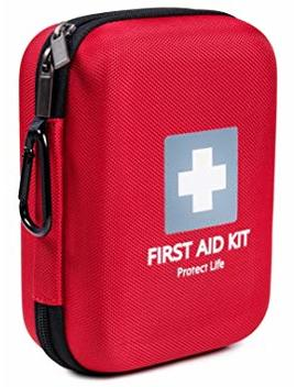 First Aid Kit For Emergency   150 Piece   Car, Home, Travel, Camping, Hiking Or Office   Reflective Cross And Red Case Fully Packed W/Medical Supplies by Protect Life