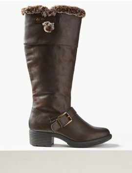 Faux Fur Buckle Knee Boots by Marks & Spencer