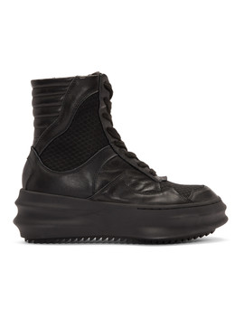 Black Curved High Top Sneakers by D.Gnak By Kang.D
