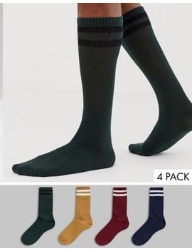 Jack & Jones 4 Pack Tennis Socks In Multi by Jack & Jones