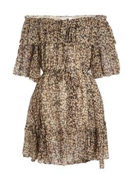 Prima Cherry Off The Shoulder Silk Georgette Dress by Zimmermann