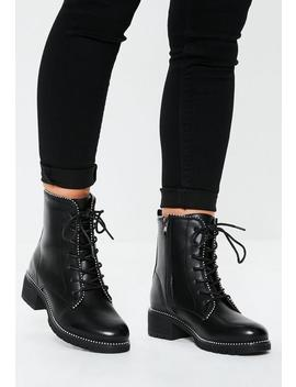 Black Stud Trim Chunky Sole Lace Up Ankle Boots by Missguided