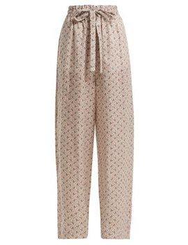 Heathers Floral Print Cotton Trousers by Zimmermann