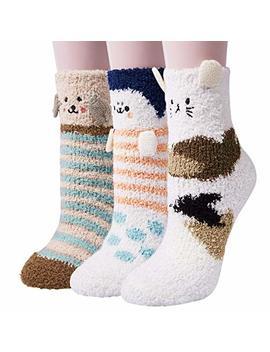 3 Pairs Womens Fuzzy Soft Slipper Socks Home Sleeping Winter Warm Fluffy Cute Animal Socks by Co Cozy