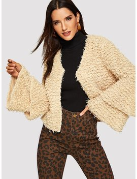 Layered Bell Sleeve Teddy Coat by Shein