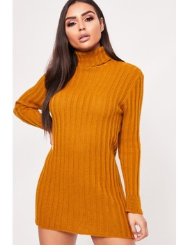 Hilary Mustard Ribbed Knitted Turtle Neck Jumper Dress by Misspap