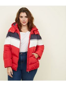 Curves Red Colour Block Puffer Jacket by New Look