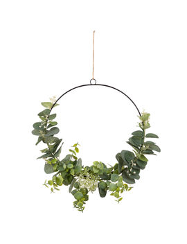 Metal And Artificial Leaf Wreath Wall Art 26x26         Eucalyptus by Cosy Blue