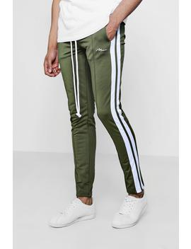 Skinny Fit Man Signature Joggers With Side Stripe by Boohoo
