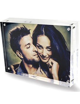 Clear Acrylic 6x8 Magnetic Picture Frames, Love Double Sided Magnetic Photo Frames, Home Office Table Plexiglass Picture Display Stand Holder For Best Friends Children Grandpa Wedding by Dy Cacrlic