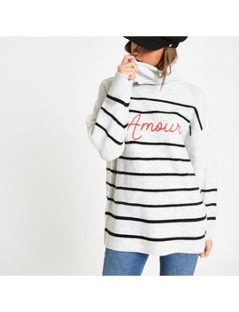 Cream Stripe 'Amour' Roll Neck Jumper by River Island