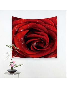 "Alfalfa Wall Hanging Decor Nature Art Polyester Fabric Tapestry, For Dorm Room, Bedroom,Living Room   60"" W X 51"" L (150cmx130cm)   Red Rose by Alfalfa"