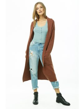 Brushed Knit Open Front Longline Cardigan by Forever 21