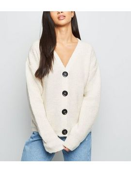 Petite Cream Fisherman Knit Button Up Cardigan by New Look