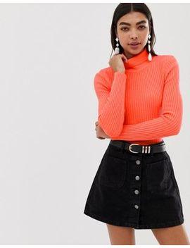 Asos Design – Enger, Gerippter Pullover In Neonfarbe Mit Rollkragen by Asos