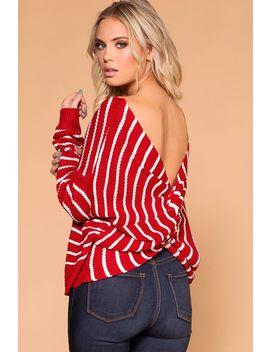 Carol Red Stripe Twist Back Sweater by Priceless