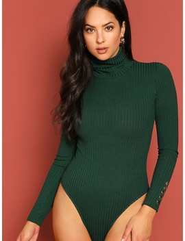 High Neck Buttoned Detail Ribbed Knit Bodysuit by Shein