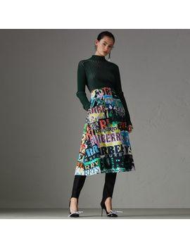 Logo Print Cotton A Line Skirt by Burberry