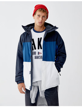 Quilted Jacket With Hood And Panels by Pull & Bear